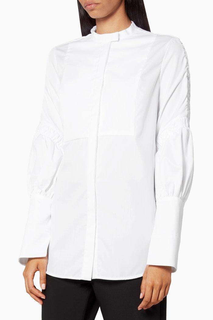 White Surreal Bib-Front Shirt