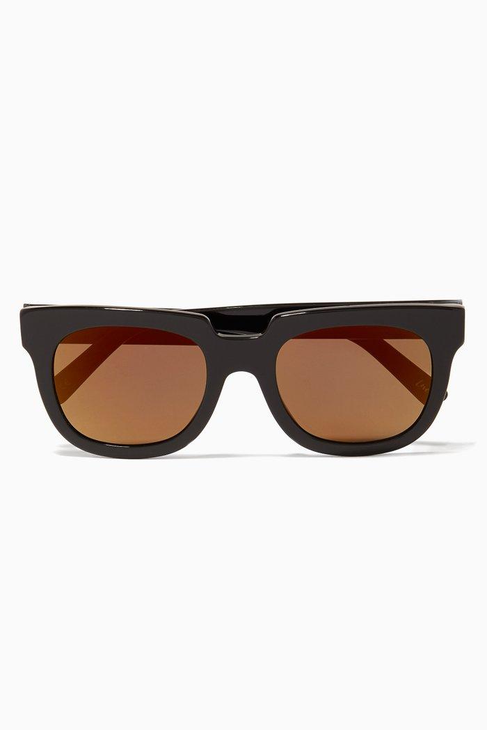 Black Victoria Oversized Square-Frame Sunglasses