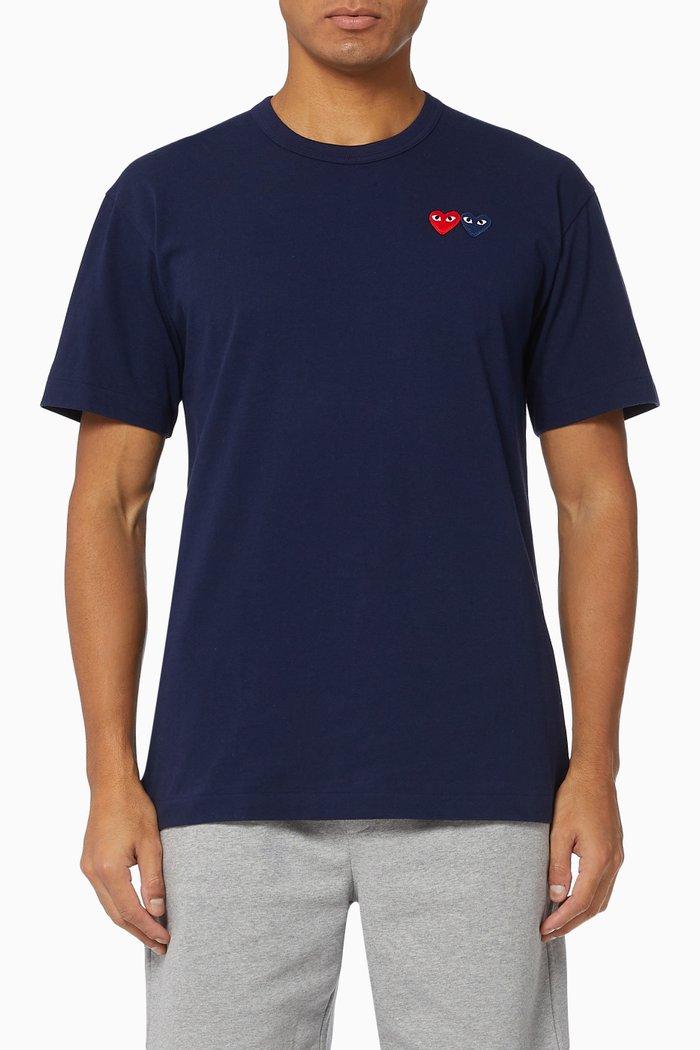 Double Small Heart-Appliqué Cotton T-shirt