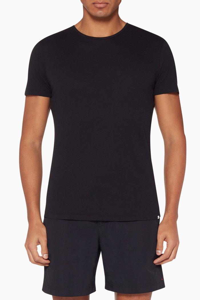 Black Crewneck Cotton T-Shirt