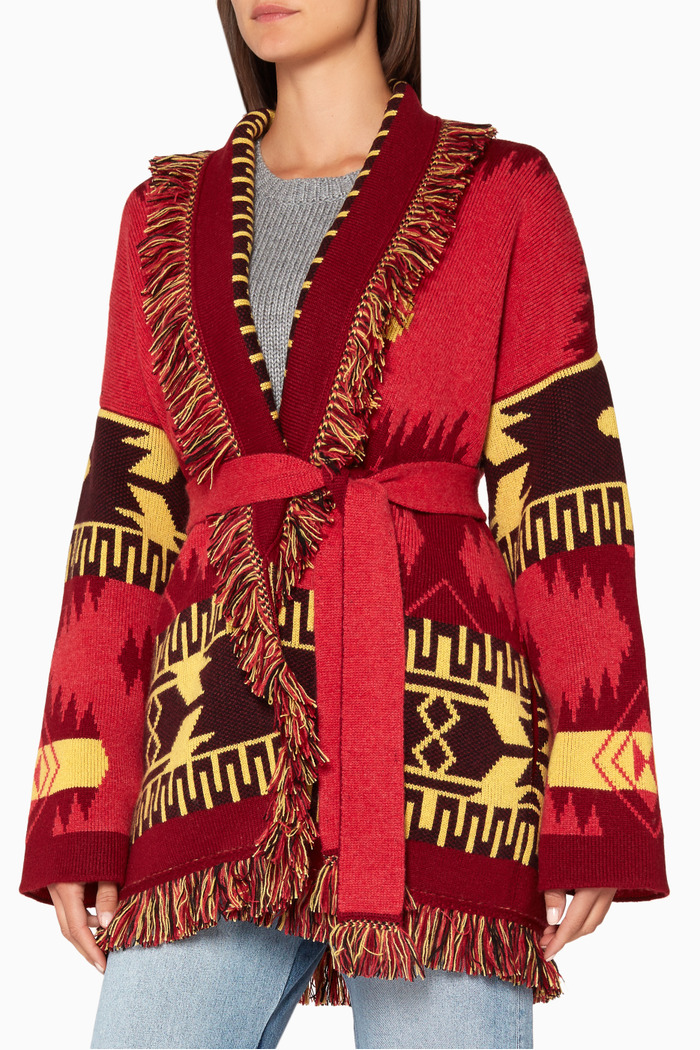 Red Jacquard Cashmere Cardigan