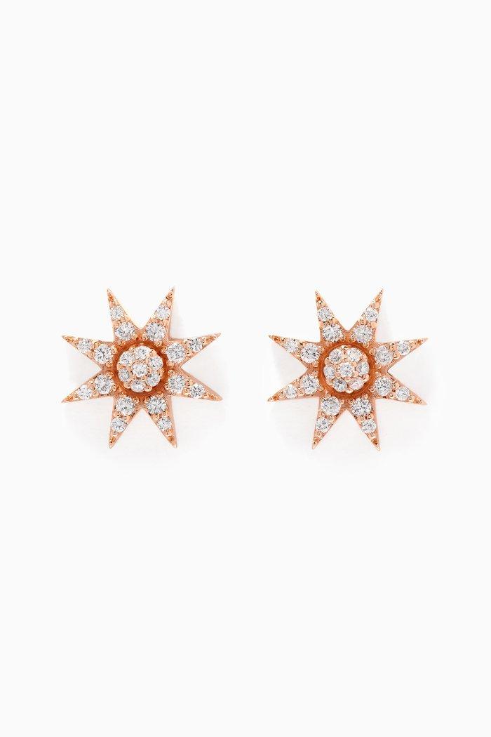 Rose-Gold & Venus Star Diamond Earrings
