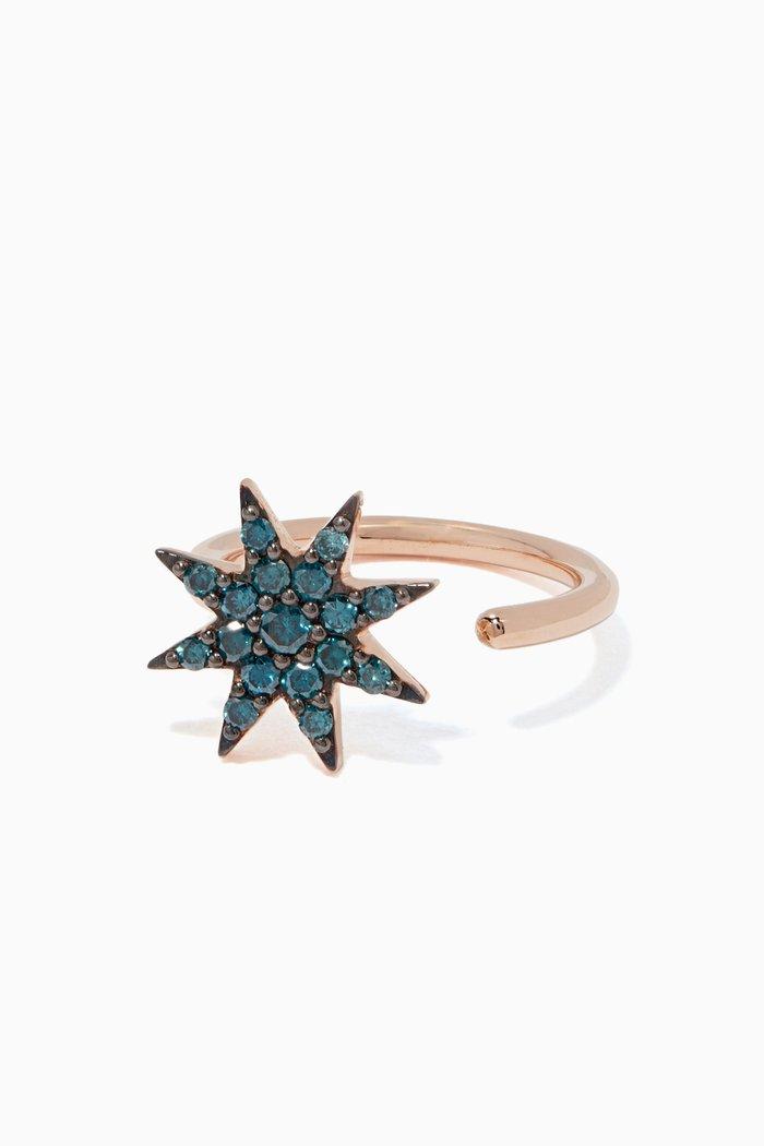 Rose-Gold & Blue Venus Star Diamond Ring