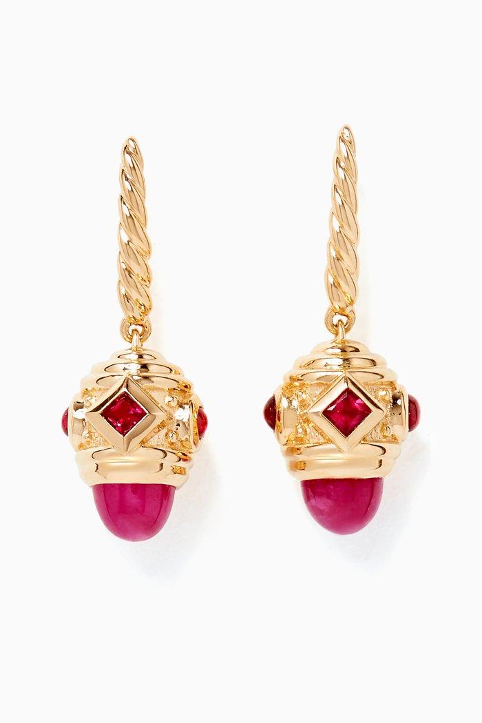 Gold & Ruby Renaissance Drop Earrings