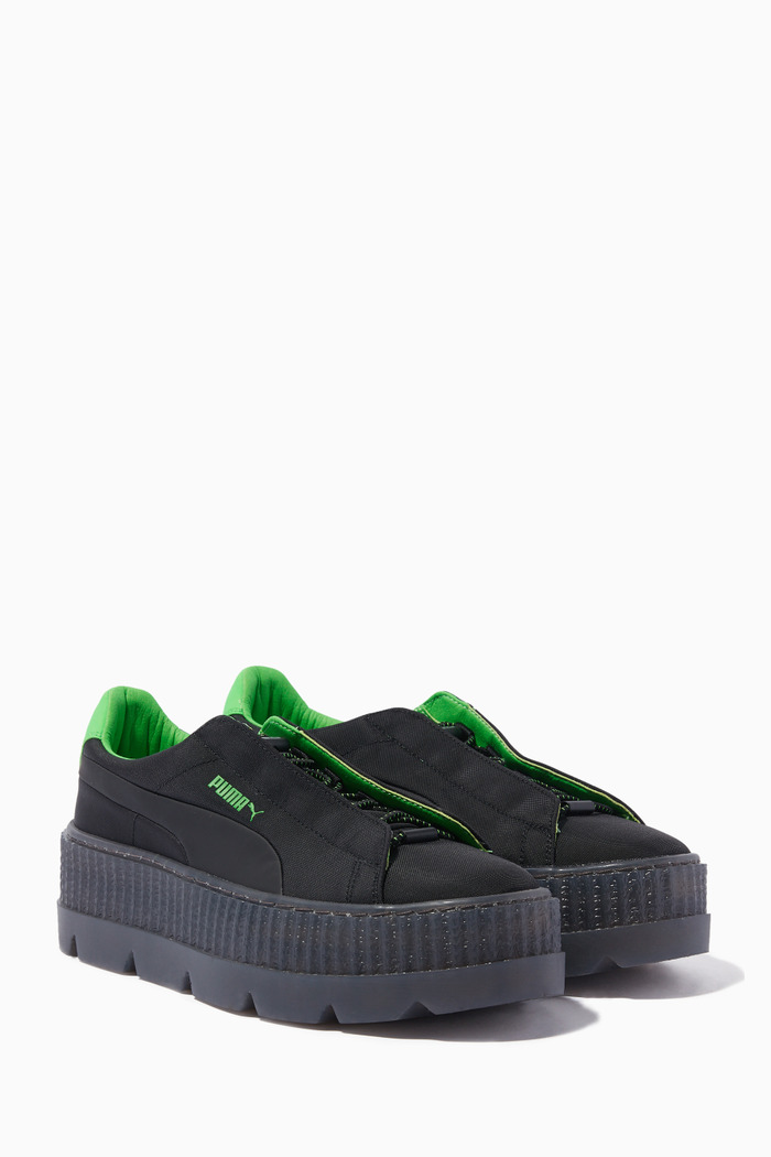 Black Cleated Creeper Surf Sneakers