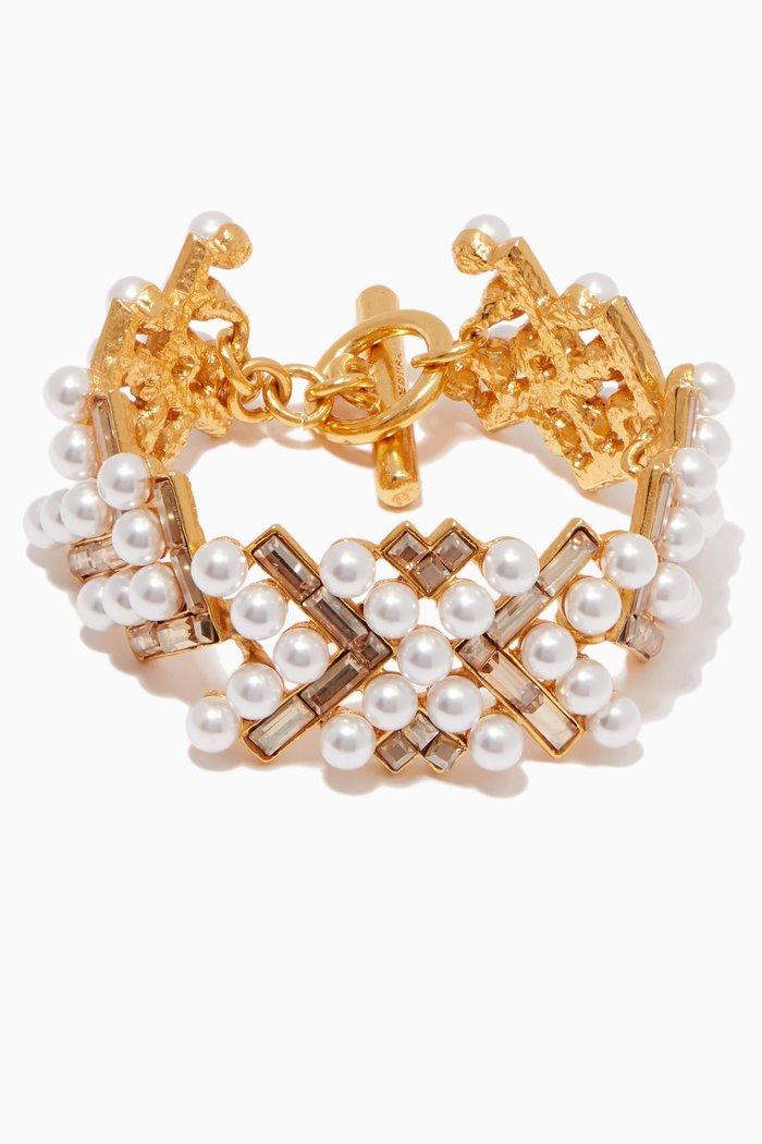 Gold Crystal & Pearl Embellished Bracelet