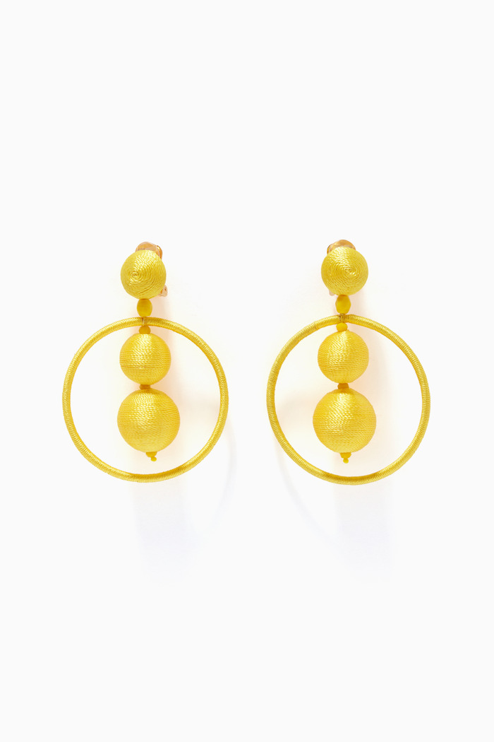 Yellow Beaded Ball Hoop Earrings
