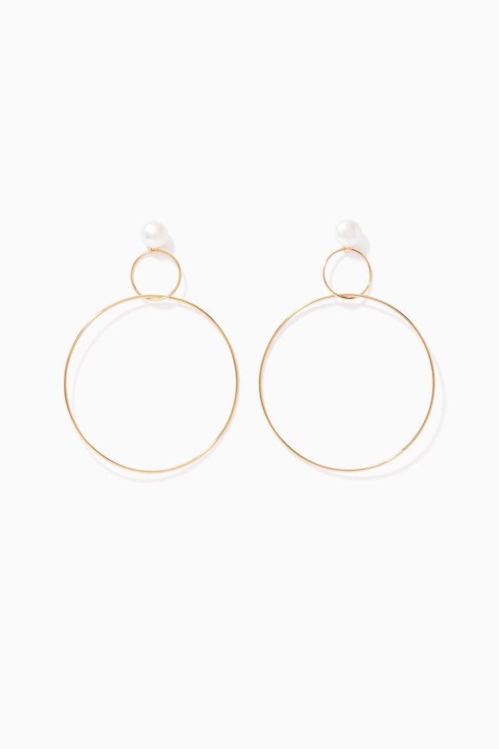 Yellow-Gold Double-Drop Pearl Hoop Earrings