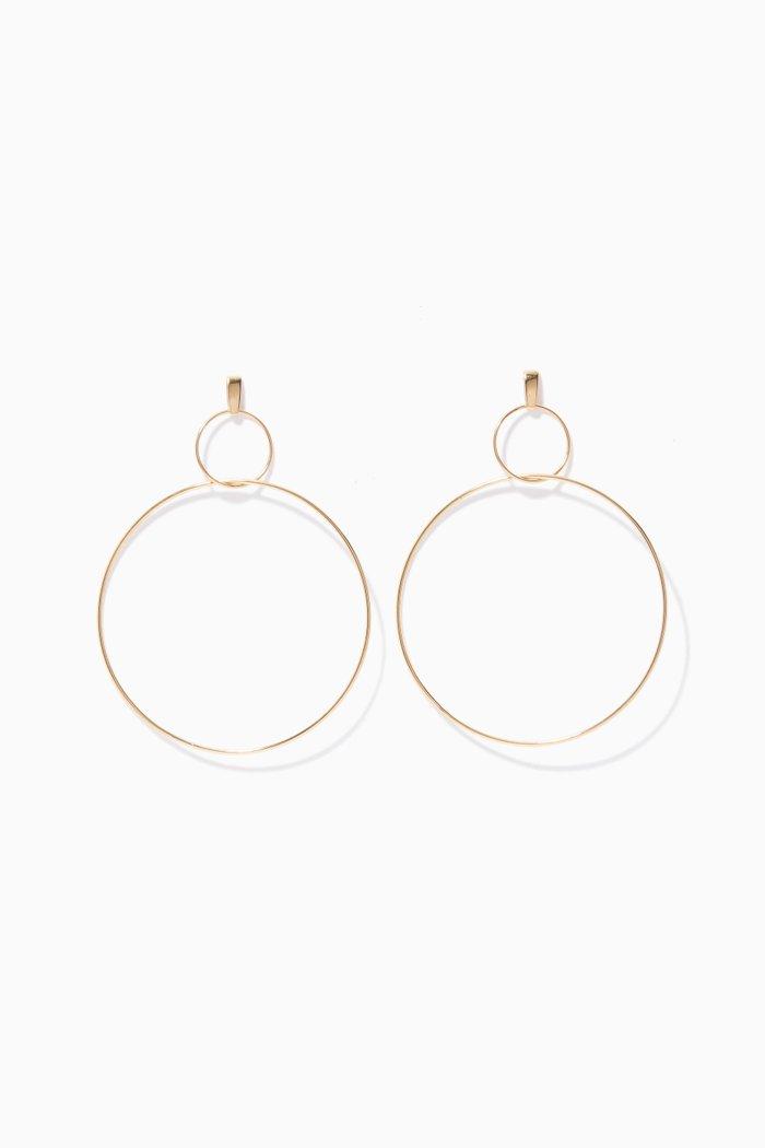 Yellow-Gold Double-Drop Hoop Earrings