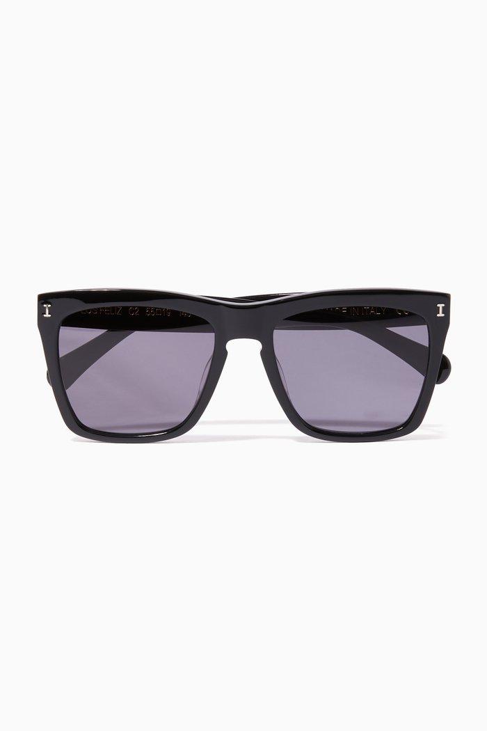 Black Los Feliz Square-Frame Sunglasses