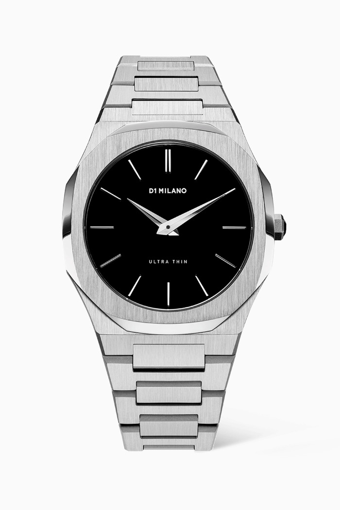 Silver Stainless Steel Ultra Thin Watch