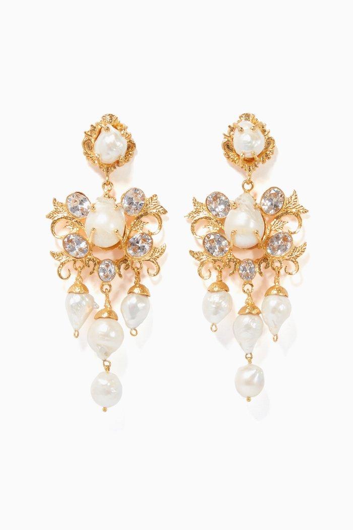 Gold Pearl & Crystal Ariadne Earrings