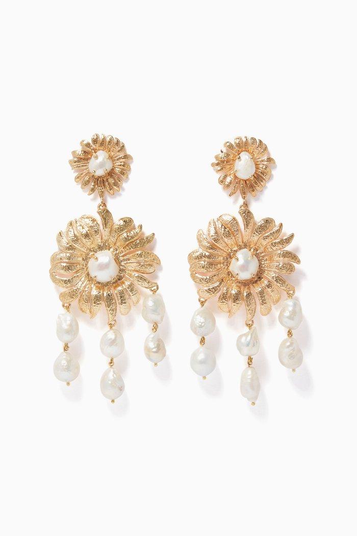 Gold Pearl Chloe Earrings