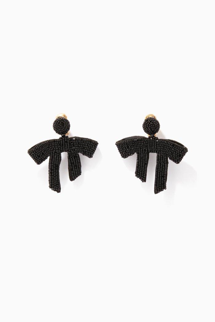 Black Beaded Bow Earrings