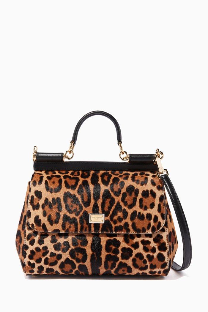 Medium Sicily Leopard-Print Pony Hair Bag