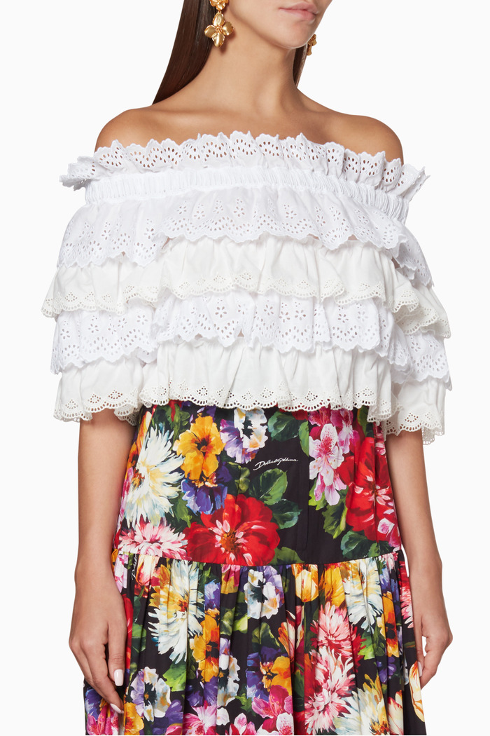 White Ruffled Cold-Shoulder Cotton Top