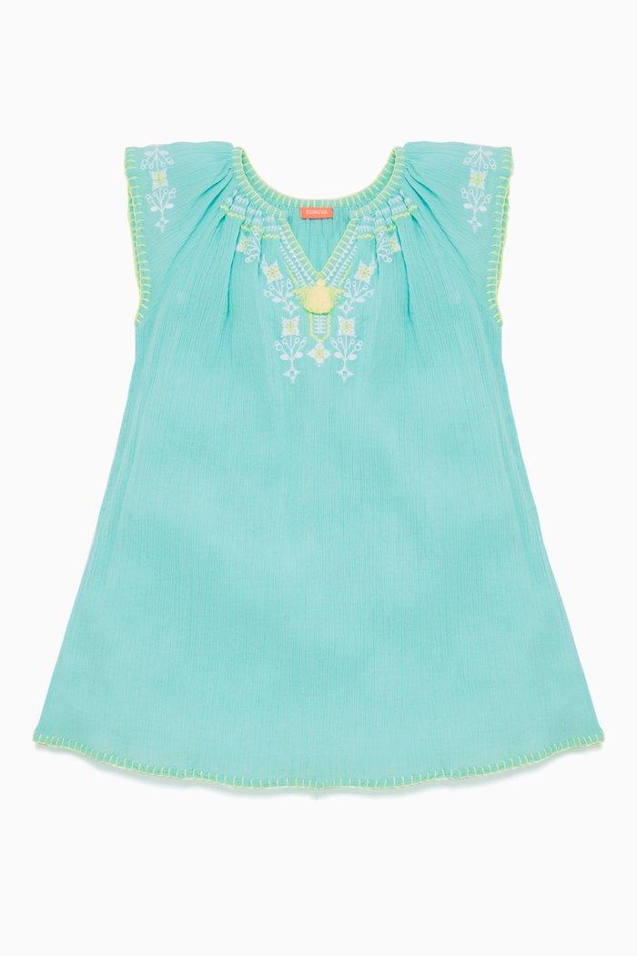 Aqua Cheesecloth Dress