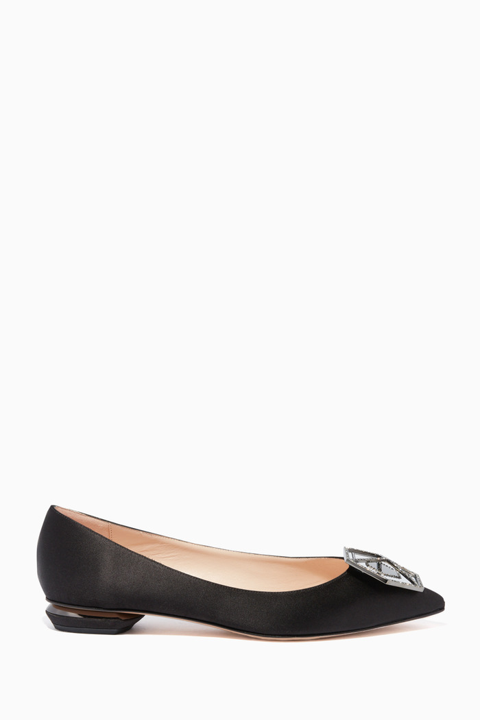 Black Eden Jewel Satin Slippers