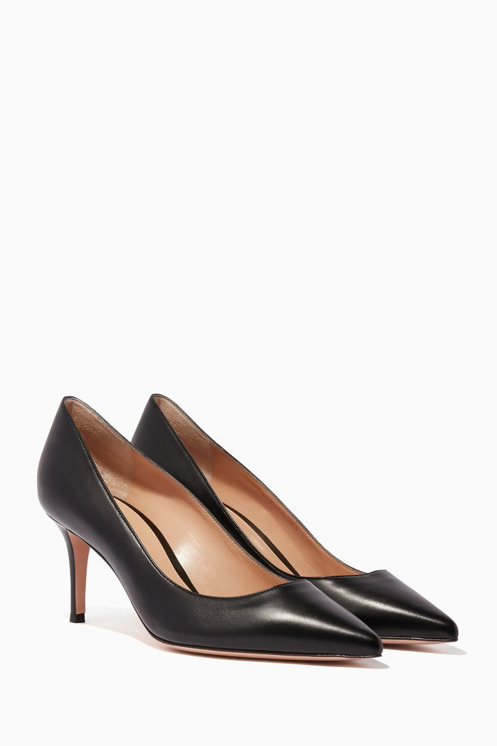 Black Nappa Point-Toe Pumps