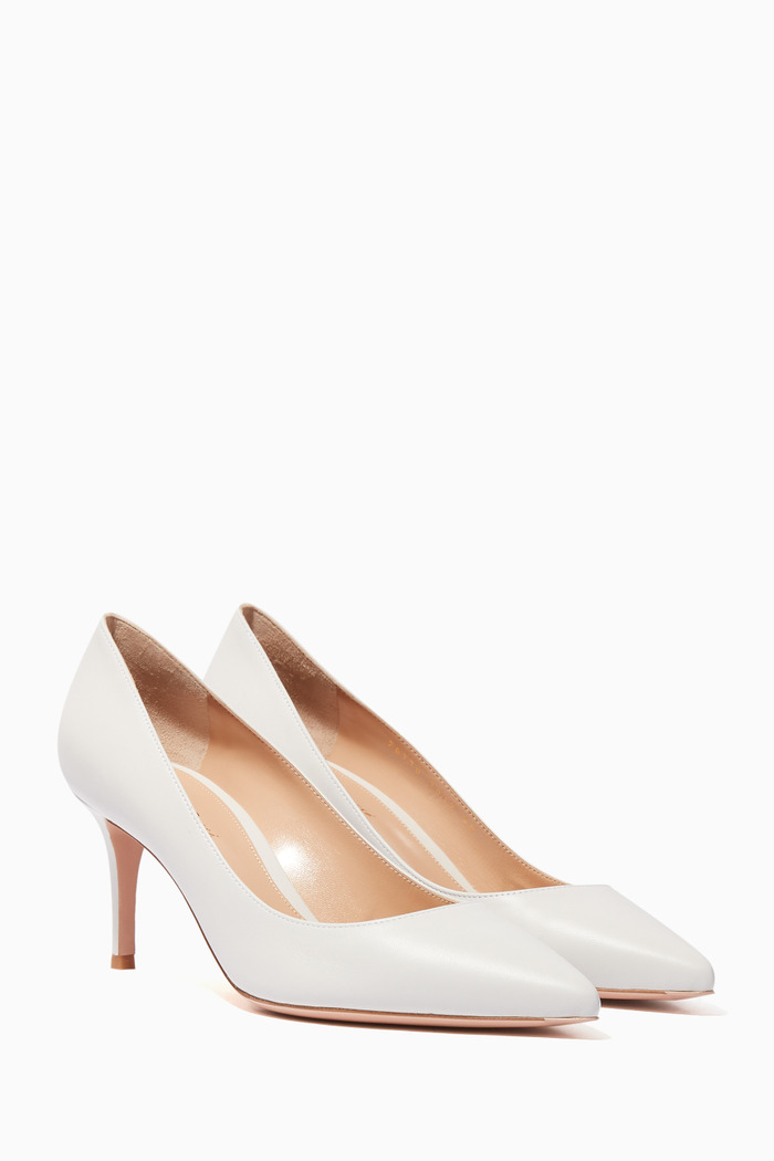 White Nappa Point-Toe Pumps