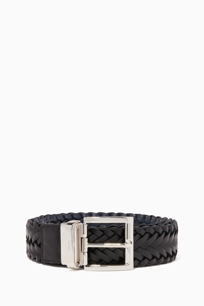 Black Saffiano Leather Reversible Belt