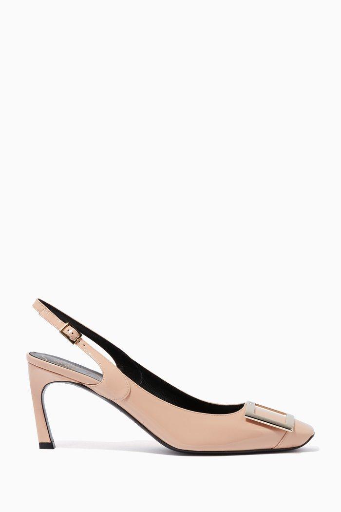 Pastel-Pink Patent Trompette Slingback Heels