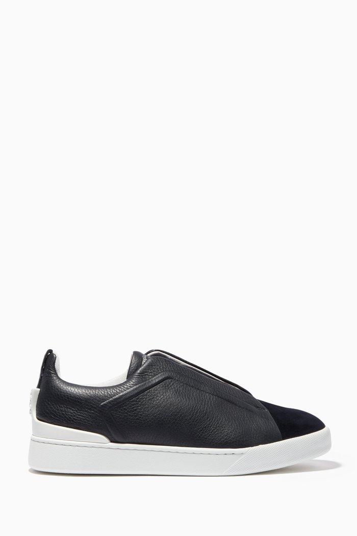Black Triple Stitch Slip-On Sneakers