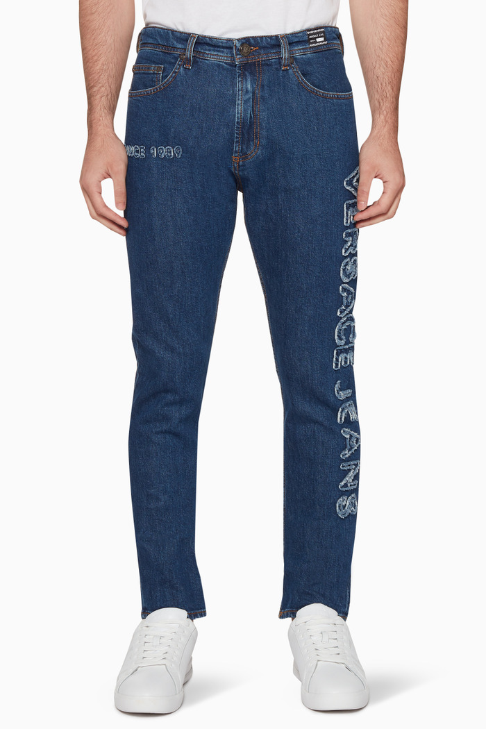 Blue Logo Embroidered Skinny Jeans