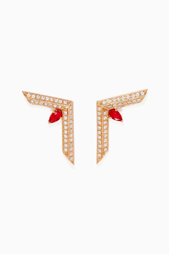 Phoenician Script Ruby & Diamond Earrings