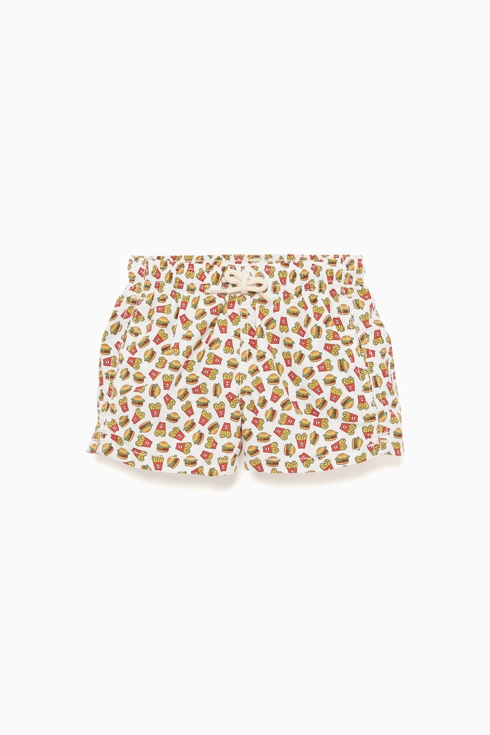 Fast Food-Print Swimming Trunks