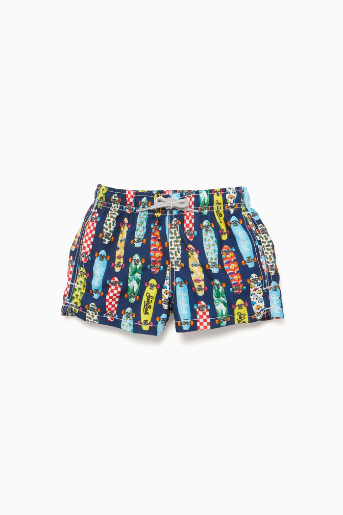 Skateboard-Print Swimming Shorts