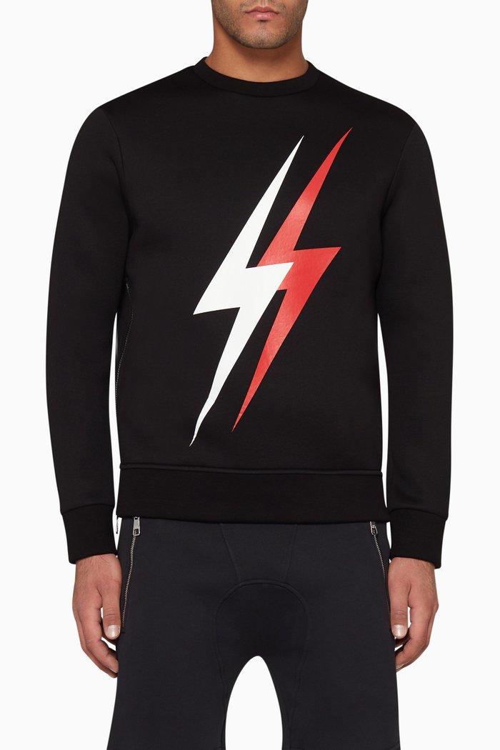 Double Thunderbolt-Print Sweatshirt