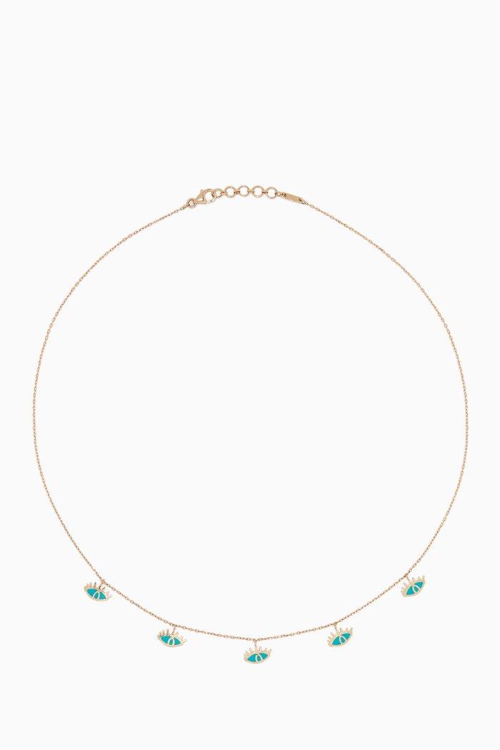 Yellow Gold & Enamel Eye Charm Necklace