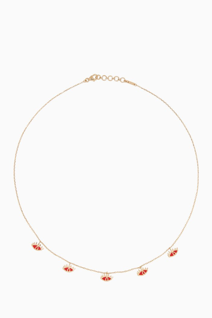 Yellow-Gold & Red-Enamel Eye Charm Necklace