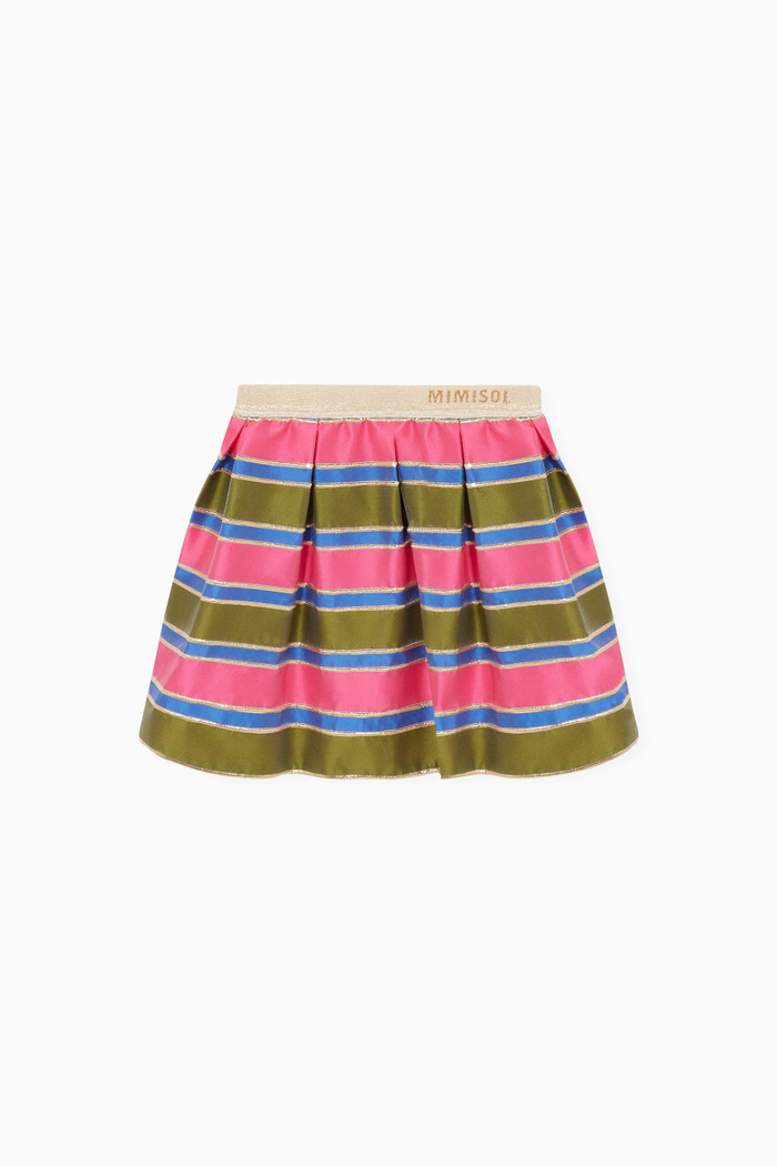 Colour-Block Striped Skirt