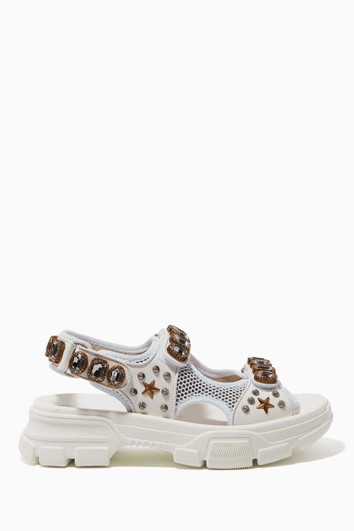Leather& Mesh Sandal with Crystals