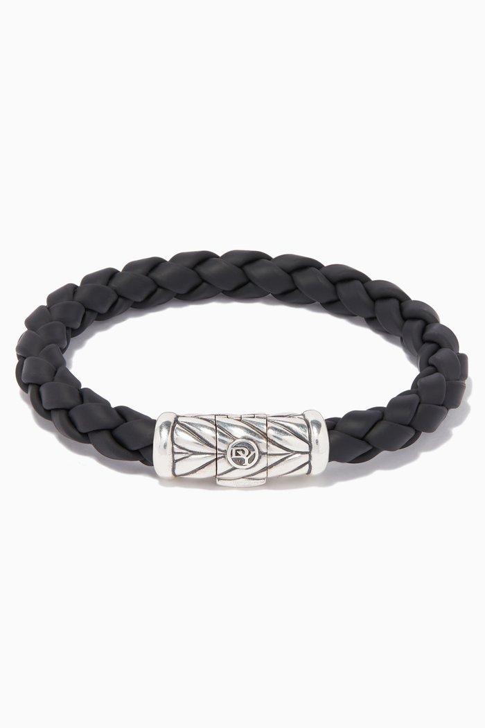 Chevron Silver & Rubber Weave Bracelet