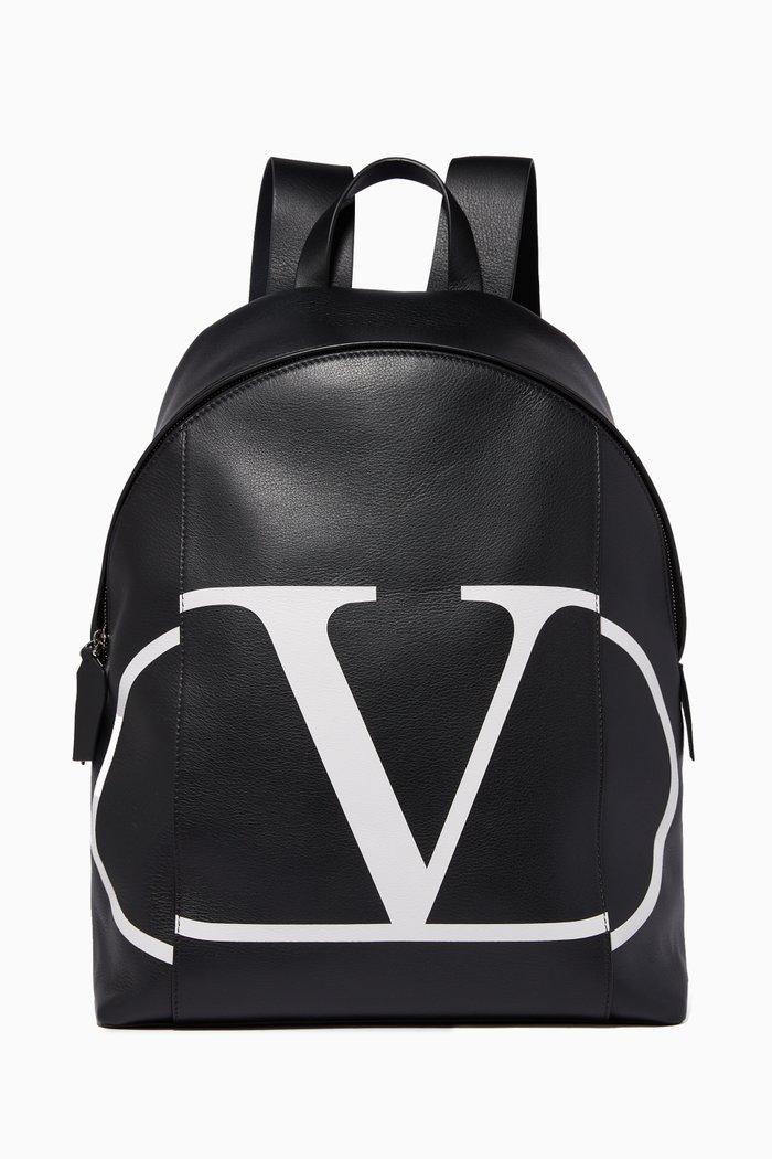 Valentino Garavani Vintage V Logo Leather Backpack