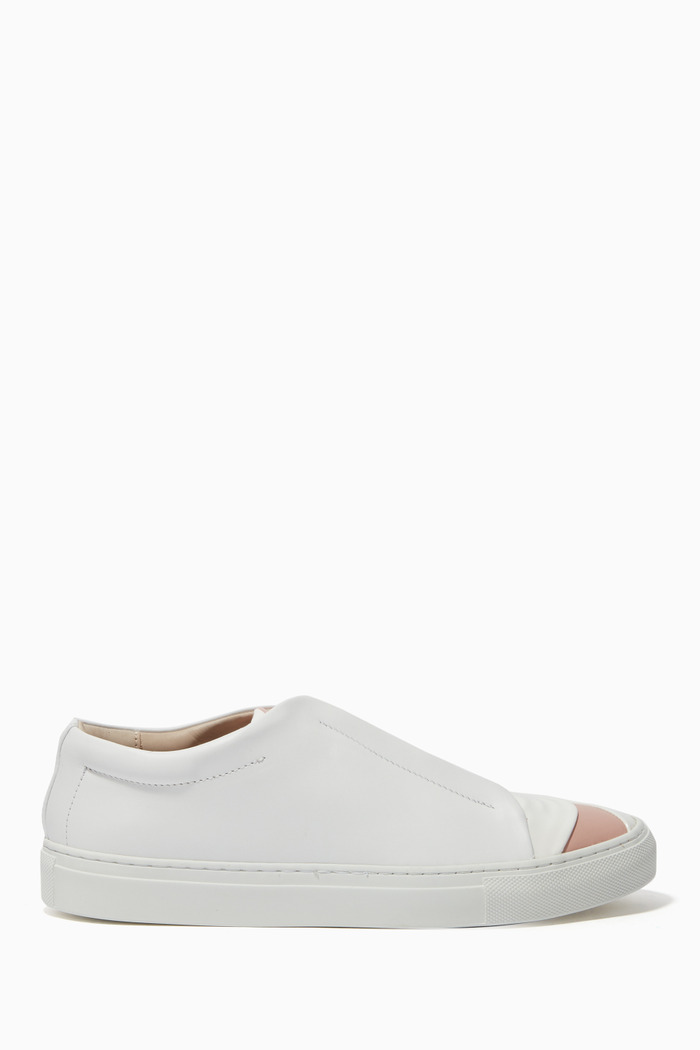 Elasticated Band Leather Sneakers