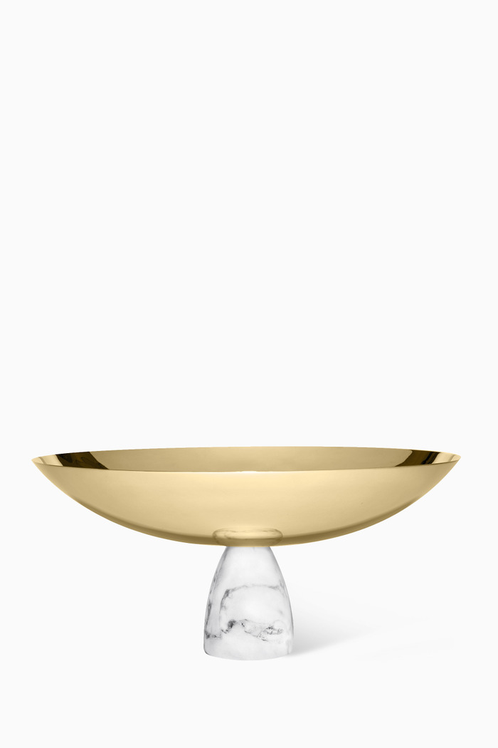 Gold-Tone & Carrara Marble Coluna Fruit Bowl