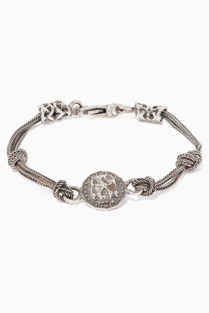 Silver Skull Coin Chain Bracelet