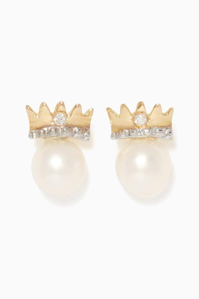 My Princess Pearl Diamond Earrings, Gold