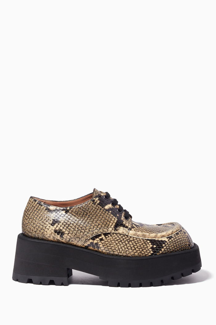 Python-Effect Leather Chunky Brogues