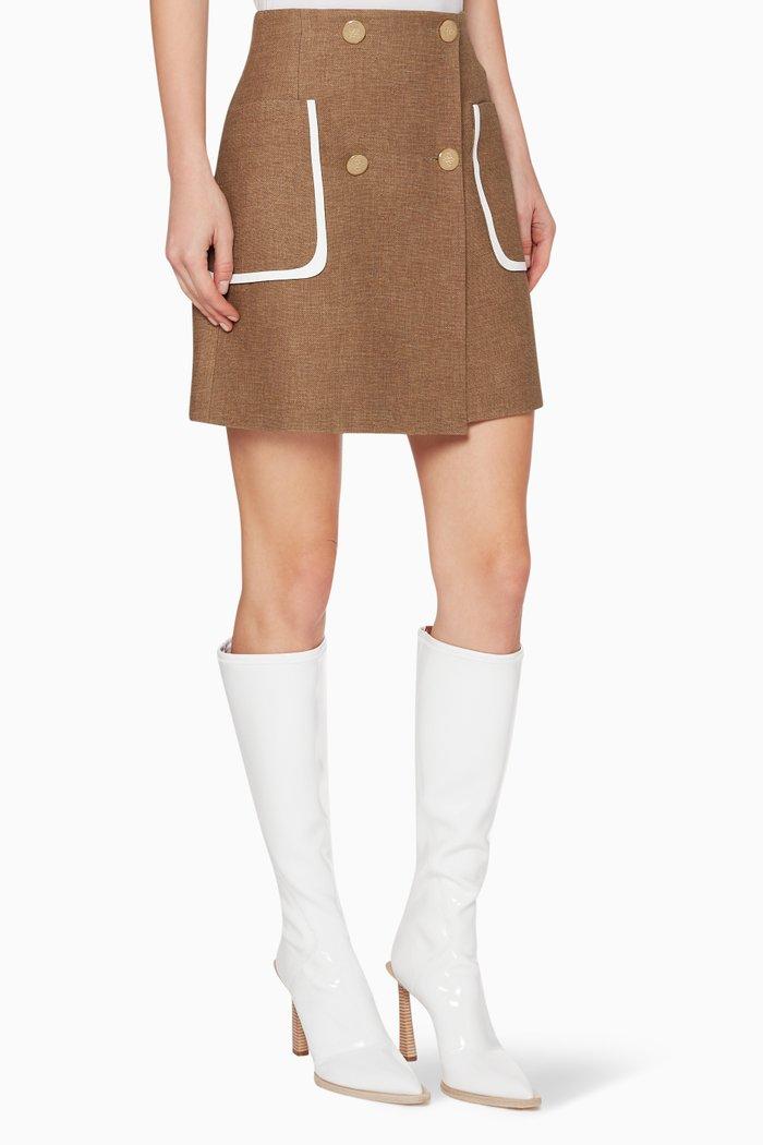 High-Waisted Wool Mini Skirt