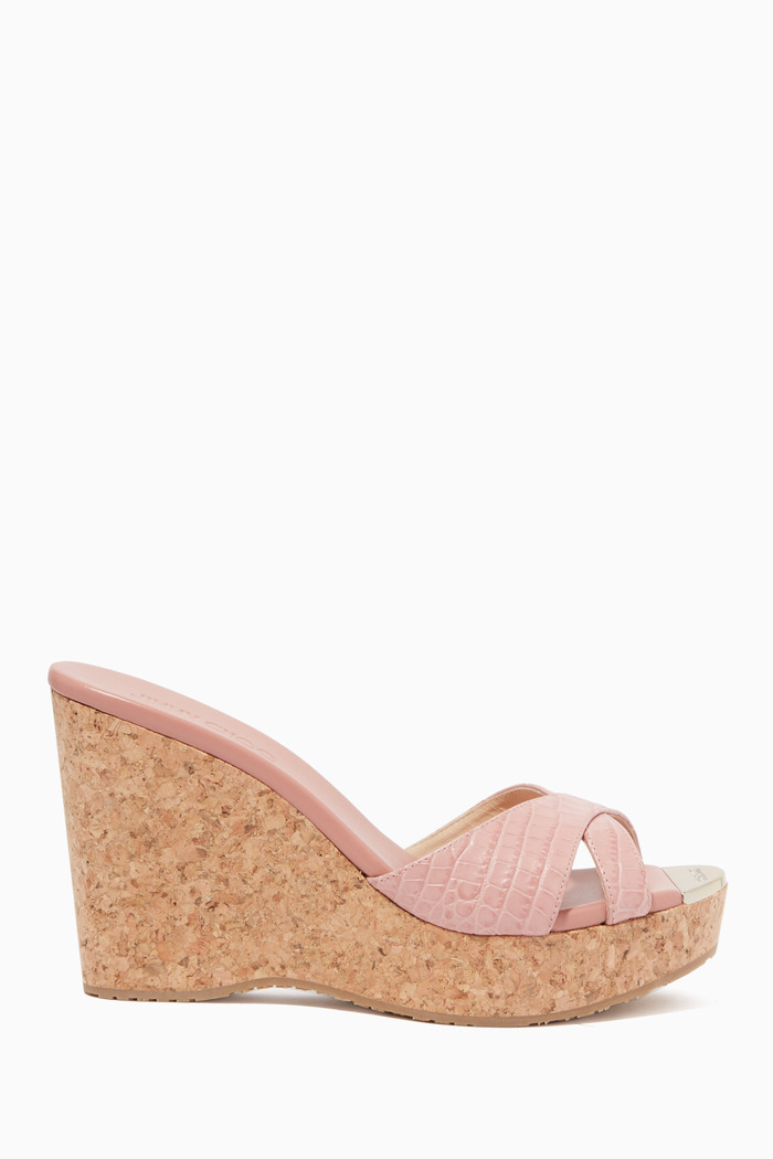 Panna 100 Croc-Embossed Leather Wedges