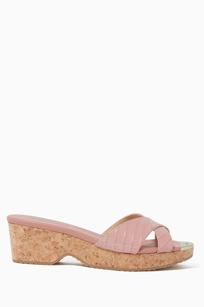 Panna 40 Croc-Embossed Leather Wedges