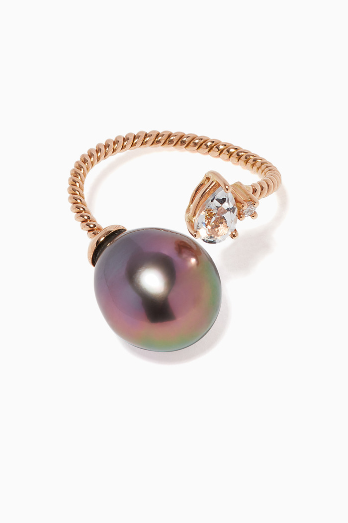 Pearl & Diamonds Twisted Ring