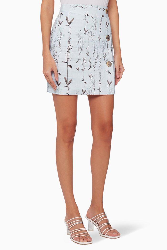 Dahlia Floral Linen Skirt