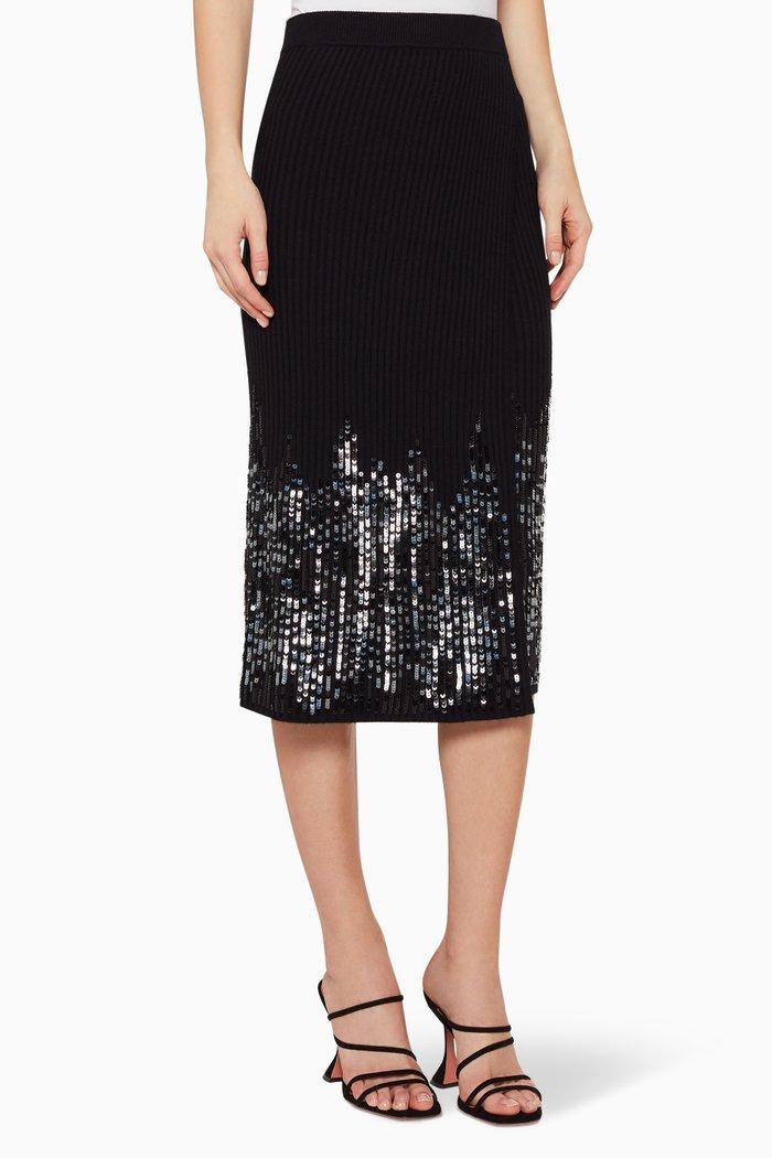 Sequinned Rib-Knit Front Slit Skirt