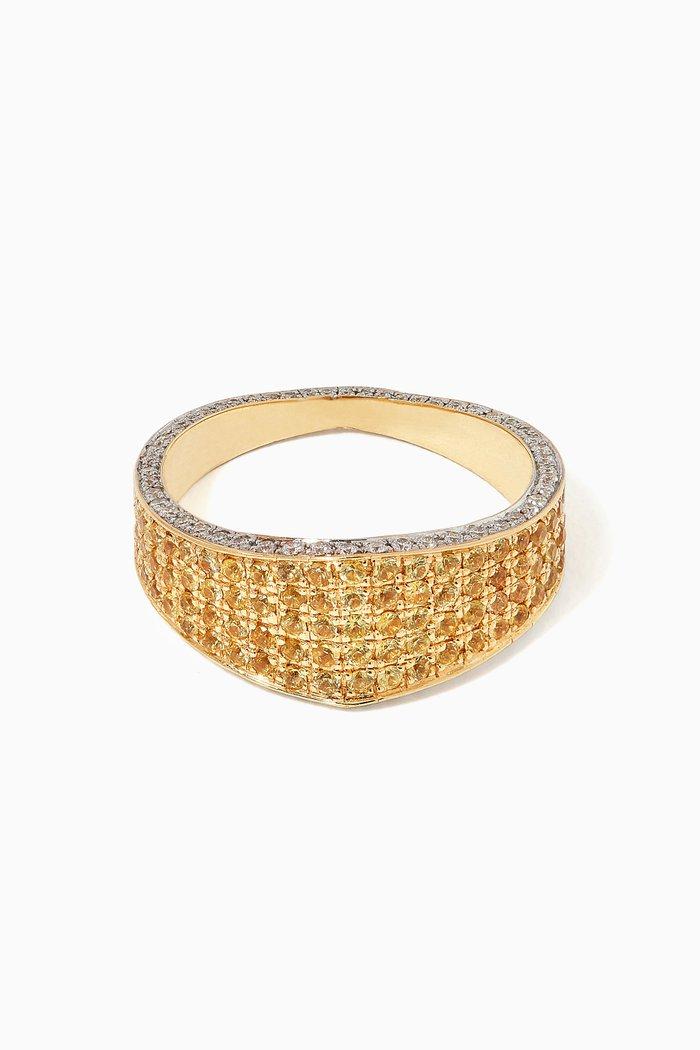 Modernist Diamond & Sapphire Ring